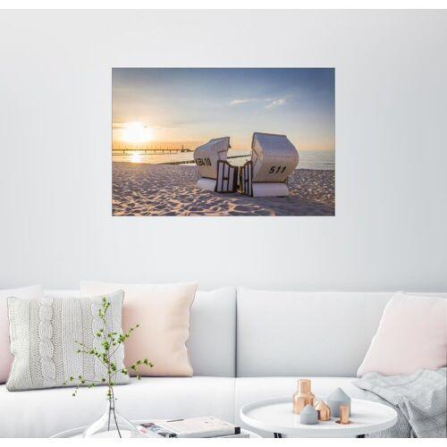 Posterlounge Wandbild, Strandkorb Idylle an der Ostsee