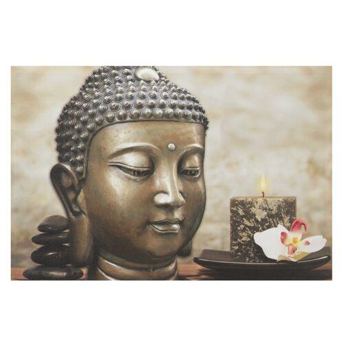 heine home LED Bild Buddha mit Kerze, taupe/grau