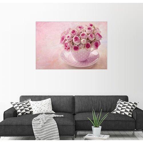 Posterlounge Wandbild, Rosen in einer Tasse