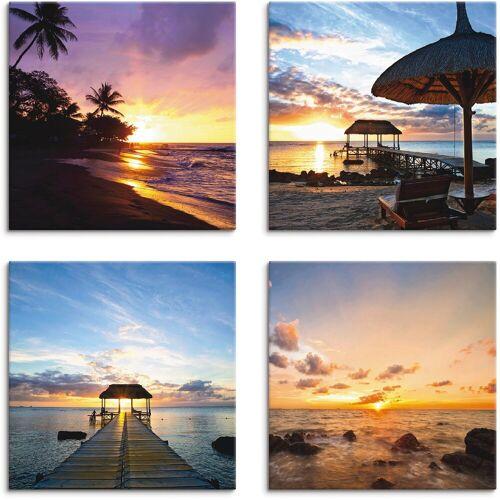 Artland Leinwandbild »Sonnenuntergang am Strand«, Sonnenaufgang & -untergang (4 Stück)