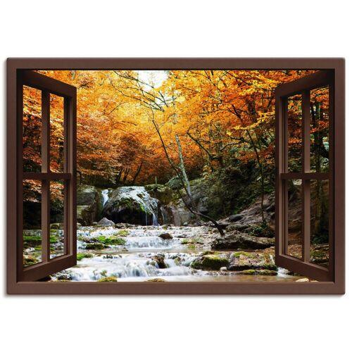 Artland Wandbild »Fensterblick - Herbstlicher Wasserfall«, Fensterblick (1 Stück)