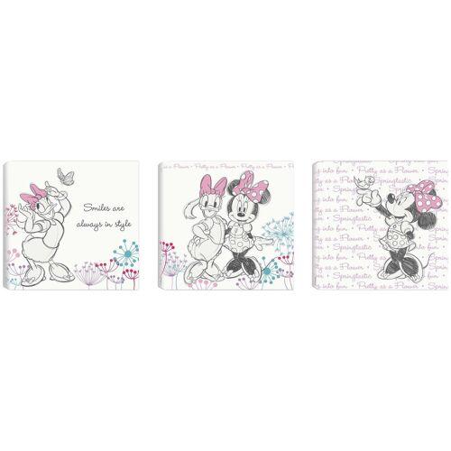 Disney Set: Leinwand »Minnie & Daisy«, 3 Teile (30x30cm), rosa