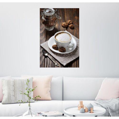 Posterlounge Wandbild, Tasse Kaffee mit Plätzchen