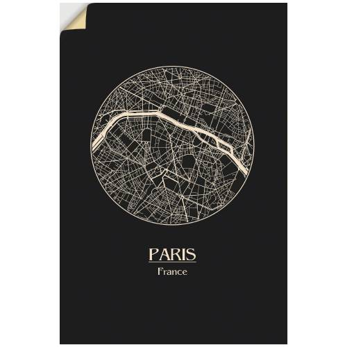 Artland Wandbild »Retro Karte Paris Frankreich Kreis«, Frankreich (1 Stück)
