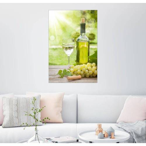 Posterlounge Wandbild, Weißwein Glas und Flasche