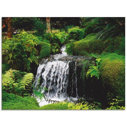 Artland Glasbild »Wasserfall im Grünen«, Gewässer (1 Stück)