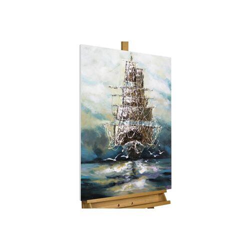 KUNSTLOFT Gemälde »Ahoi Piratenschiff«, handgemaltes Bild auf Leinwand