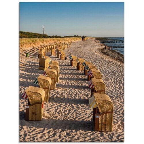 Artland Glasbild »Strandkörbe Ostseeküste in Wustrow«, Gewässer (1 Stück)