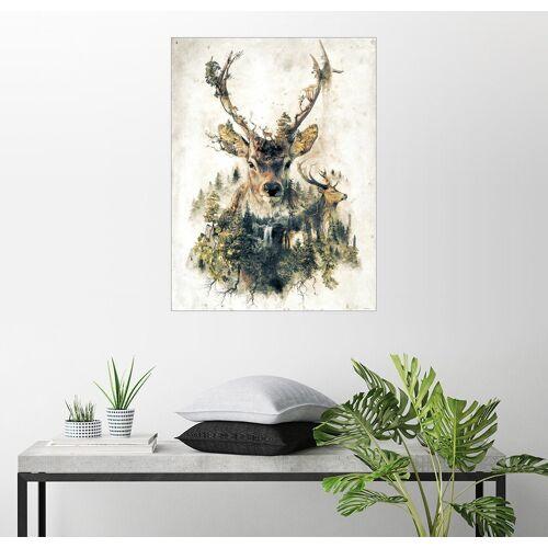 Posterlounge Wandbild, Premium-Poster Hirsch Natur Surrealismus