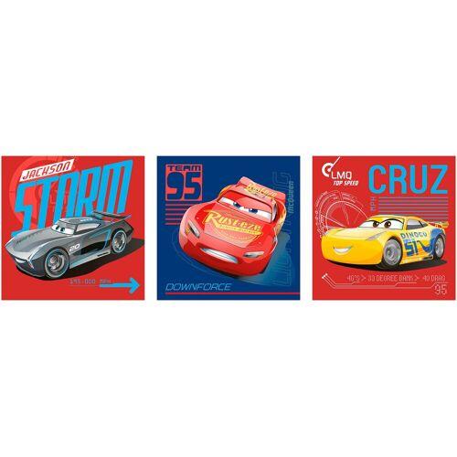 Disney Set: Leinwand »Cars«, 3 Teile (30x30cm), rot