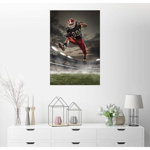 Posterlounge Wandbild, Footballspieler in Aktion