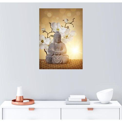 Posterlounge Wandbild, Buddha-Statue und Orchidee