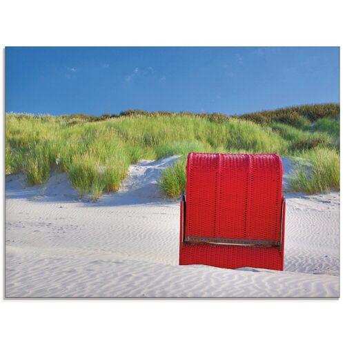 Artland Glasbild »Roter Strandkorb«, Strand (1 Stück)
