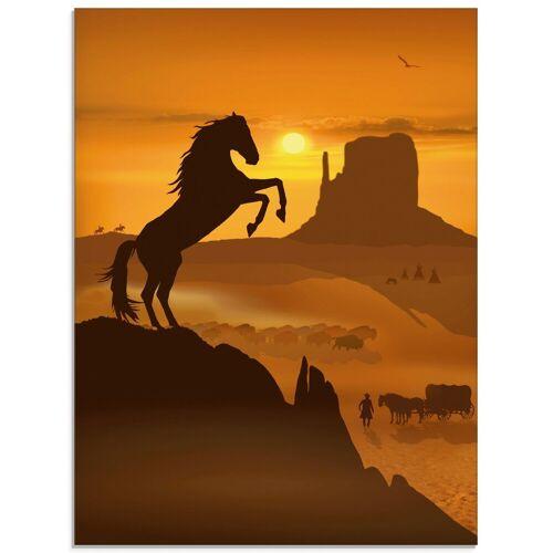 Artland Glasbild »Freiheit für den schwarzen Mustang«, Haustiere (1 Stück)