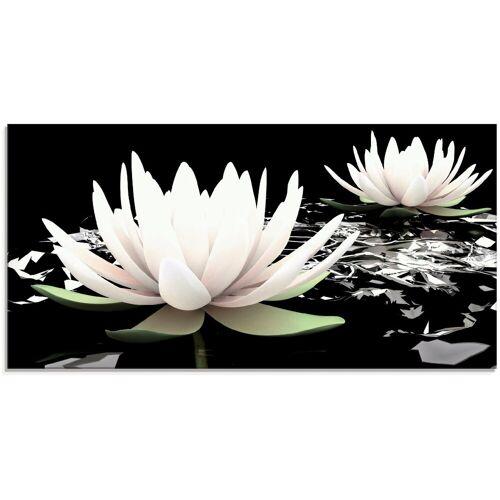 Artland Glasbild »Zwei Lotusblumen auf dem Wasser«, Blumen (1 Stück)