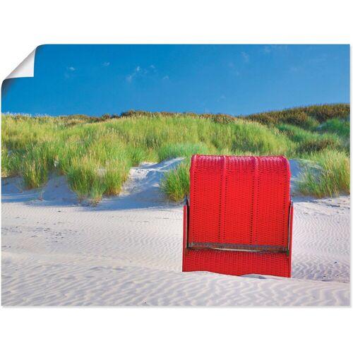 Artland Wandbild »Roter Strandkorb«, Strand (1 Stück)