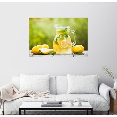 Posterlounge Wandbild, Limonade im Krug und Zitronen mit Minze