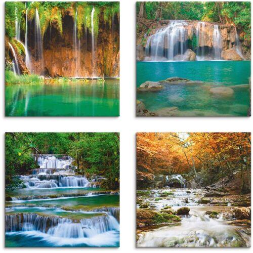 Artland Leinwandbild »Schöner Wasserfall im Wald«, Gewässer (4 Stück)