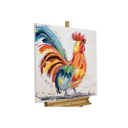 KUNSTLOFT Gemälde »Hahn im Korb«, handgemaltes Bild auf Leinwand