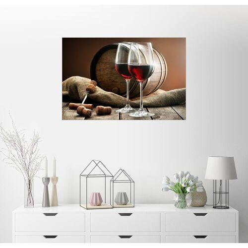 Posterlounge Wandbild, Weingläser und Fass auf einem Holztisch