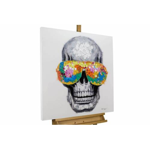 KUNSTLOFT Gemälde »Funky Totenkopf«, handgemaltes Bild auf Leinwand
