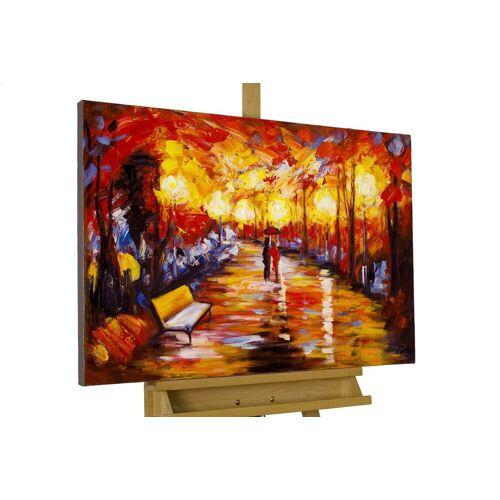 KUNSTLOFT Gemälde »Laternenschein der Parkallee«, handgemaltes Bild auf Leinwand