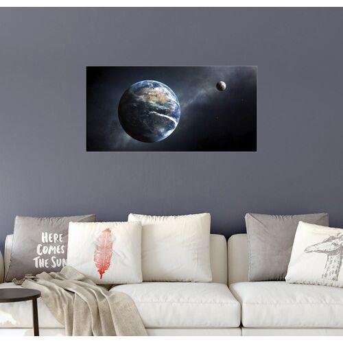 Posterlounge Wandbild, Erde und Mond aus dem Weltall