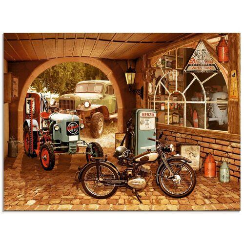 Artland Glasbild »Werkstatt mit Traktor und Motorrad«, Traktoren (1 Stück)