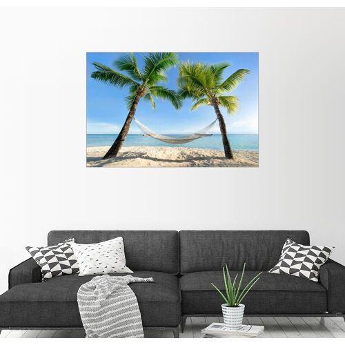 Posterlounge Wandbild, Hängematte am Strand mit Palmen in der Südsee