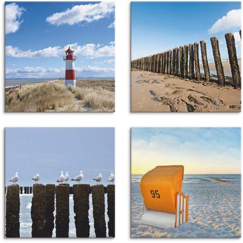 Artland Leinwandbild »Leuchtturm Sylt Strand Möven Strandkorb«, Strand (4 Stück)