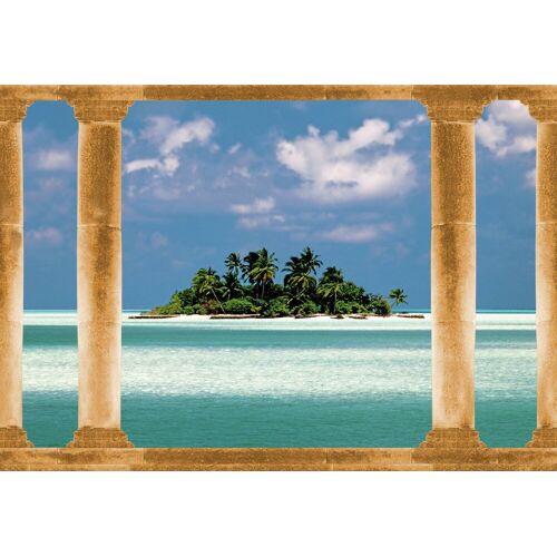 Papermoon Fototapete »Palmeninsel Malediven«, BlueBack, 7 Bahnen, 350 x 260 cm, bunt
