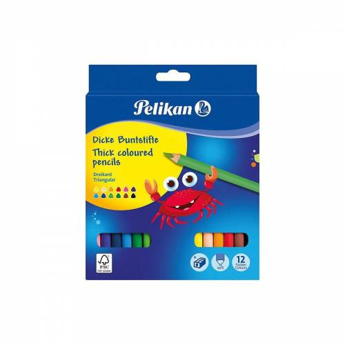 Pelikan Buntstift »Buntstifte dick, dreieckig, 12 Farben«