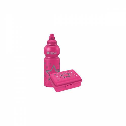 Fizzii Brotschale »Pausenset, Trinkflasche & Brotdose Sterne«, pink