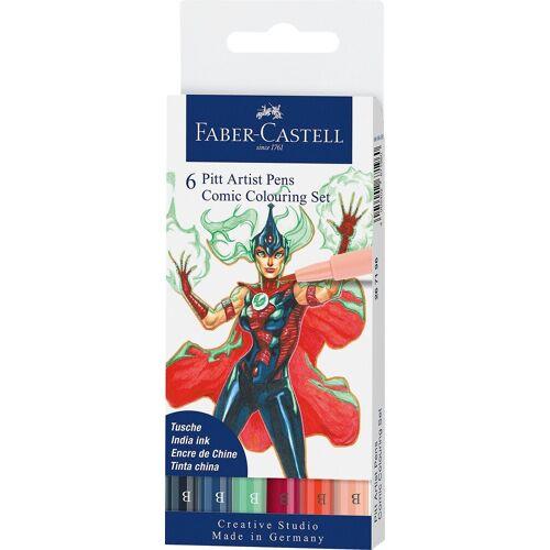 Faber-Castell Dekorierstift »Pitt Artist Pen Tuschestift Comic, 6 Farben«