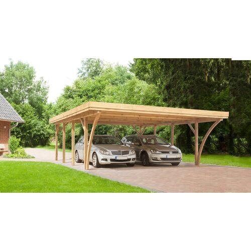 Kiehn-Holz Doppelcarport »KH 105«, BxT: 604x760 cm, mit Alu-Dach, grün