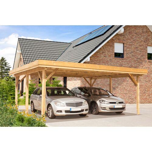 Kiehn-Holz Doppelcarport »KH 102«, BxT: 604x510 cm, mit Alu-Dach, grün