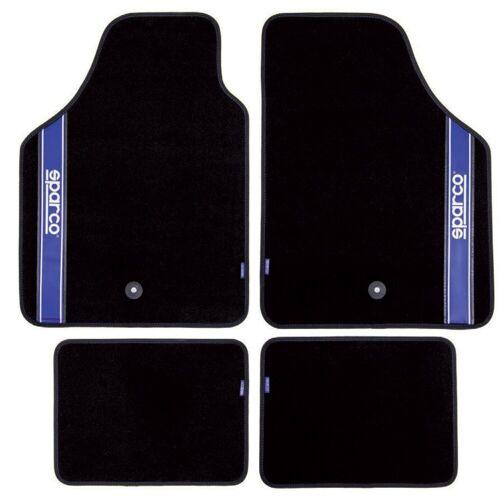 dynamic24 Fußmatte, , Sparco Automattenset 4tlg. Fußmatten Teppich Matten Set Gummimatten Autoteppich, schwarz/blau