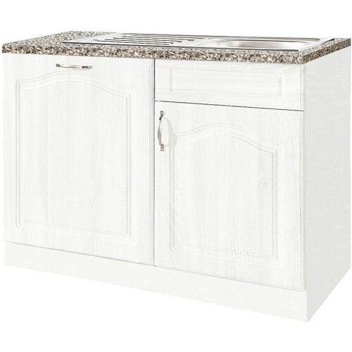 wiho Küchen Spülenschrank 110 cm breit, inkl. Tür für Geschirrspüler, Weiß