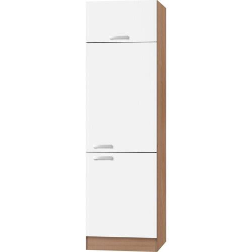 OPTIFIT Kühlumbauschrank »Odense« 60 cm breit, 207 cm hoch, geeignet für Einbaukühlschrank mit Nischenmaß 88 cm, weiß/buche