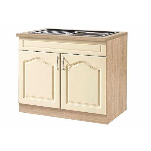 wiho Küchen Spülenschrank »Linz« 100 cm breit, inkl. Einbauspüle, Vanille