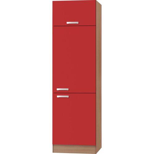 OPTIFIT Kühlumbauschrank »Odense« 60 cm breit, 207 cm hoch, geeignet für Einbaukühlschrank mit Nischenmaß 88 cm, rot/buche