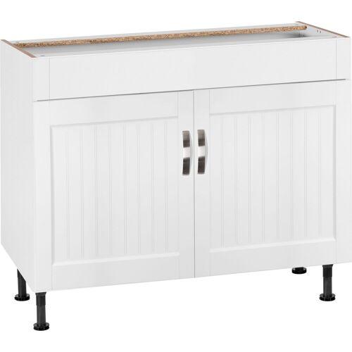 OPTIFIT Spülenschrank »Cara« Breite 100 cm, weiß Landhaus/weiß