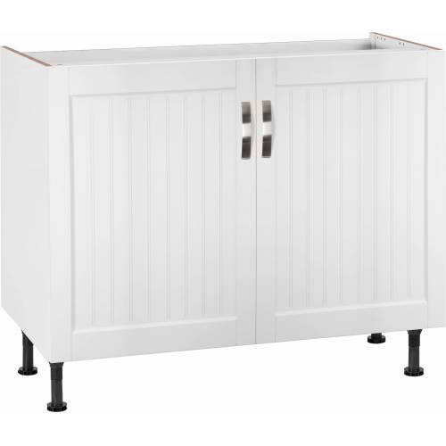 Spülenschrank »Cara« Breite 100 cm, weiß Landhaus/weiß