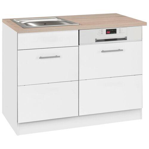 HELD MÖBEL Spülenschrank »Perth« Spülenschrank, Breite 110 cm, mit Tür/Sockel für Geschirrspüler, weiß