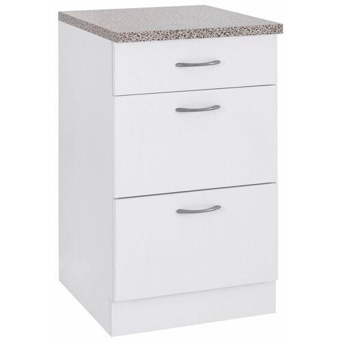 wiho Küchen Unterschrank »Kiel« 50 cm breit, mit 2 großen Auszügen, Weiß/Weiß