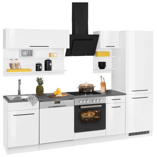 HELD MÖBEL Küchenzeile »Tulsa«, ohne E-Geräte, Breite 270 cm, schwarze Metallgriffe, hochwertige MDF Fronten, weiß Hochglanz