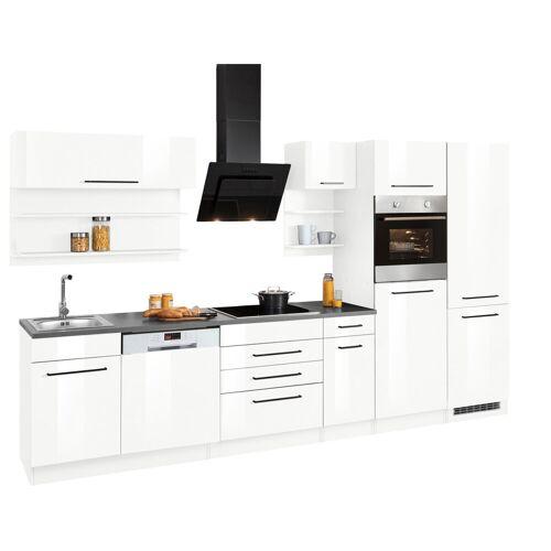 HELD MÖBEL Küchenzeile »Tulsa«, ohne E-Geräte, Breite 330 cm, schwarze Metallgriffe, hochwertige MDF Fronten, weiß Hochglanz