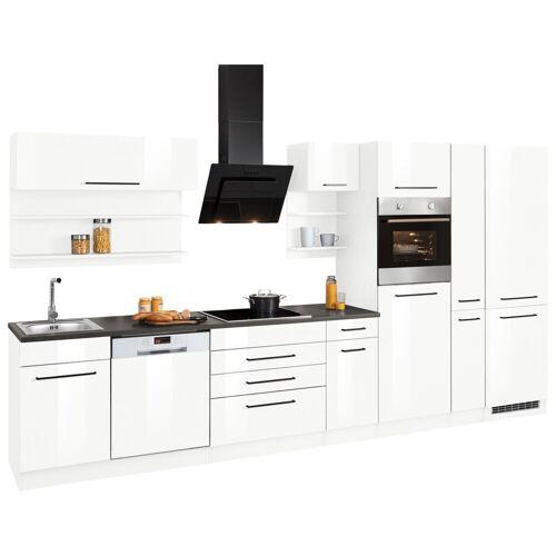 HELD MÖBEL Küchenzeile »Tulsa«, ohne E-Geräte, Breite 380 cm, schwarze Metallgriffe, hochwertige MDF Fronten, weiß Hochglanz