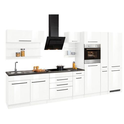 HELD MÖBEL Küchenzeile »Tulsa«, ohne E-Geräte, Breite 360 cm, schwarze Metallgriffe, hochwertige MDF Fronten, weiß Hochglanz