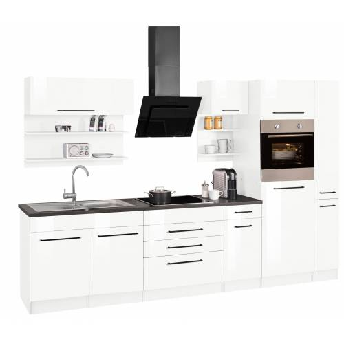 HELD MÖBEL Küchenzeile »Tulsa«, ohne E-Geräte, Breite 320 cm, schwarze Metallgriffe, hochwertige MDF Fronten, weiß Hochglanz